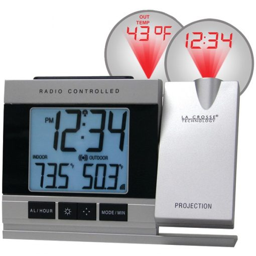 La Crosse Technology(R) WT-5220U-IT-CBP Atomic Projection Alarm Clock with Indoor & Outdoor Temperature