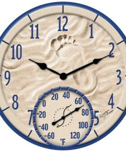 """Springfield(R) Precision 91501 14"""" By the Sea Poly Resin Clock with Thermometer"""