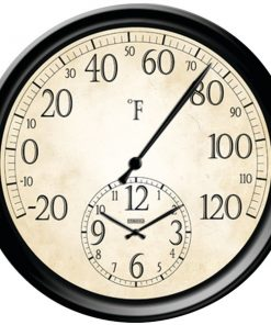 "Springfield(R) Precision 91575 14"" Decorative Thermometer with Clock"