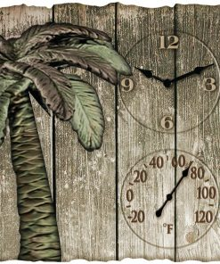 "Taylor(R) Precision Products 91940 12"" x 13"" Palm Tree Poly Resin Clock with Thermometer"