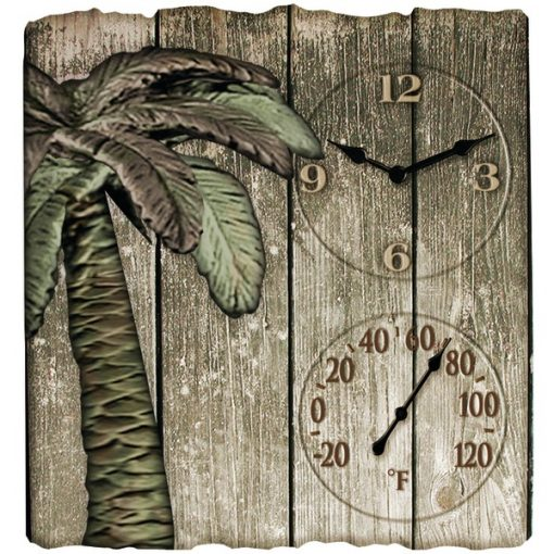 """Taylor(R) Precision Products 91940 12"""" x 13"""" Palm Tree Poly Resin Clock with Thermometer"""