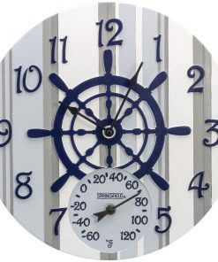 "Springfield(R) Precision 92668 14"" Poly Resin Clock with Thermometer (Captain's Wheel)"