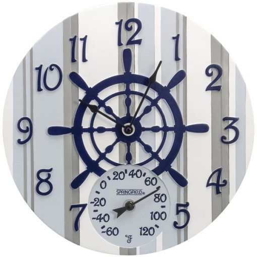 """Springfield(R) Precision 92668 14"""" Poly Resin Clock with Thermometer (Captain's Wheel)"""