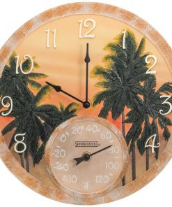 """Springfield(R) Precision 92669 14"""" Poly Resin Clock with Thermometer (Coconut Bay)"""