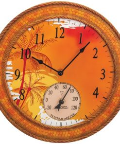 "Springfield(R) Precision 92671 14"" Poly Resin Clock with Thermometer (Mosaic Palms)"