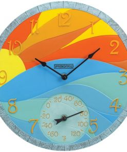 "Springfield(R) Precision 92672 14"" Poly Resin Clock with Thermometer (Sunrise)"