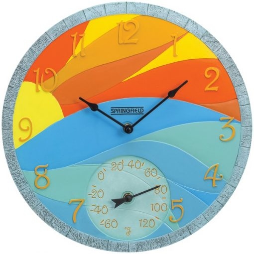 """Springfield(R) Precision 92672 14"""" Poly Resin Clock with Thermometer (Sunrise)"""